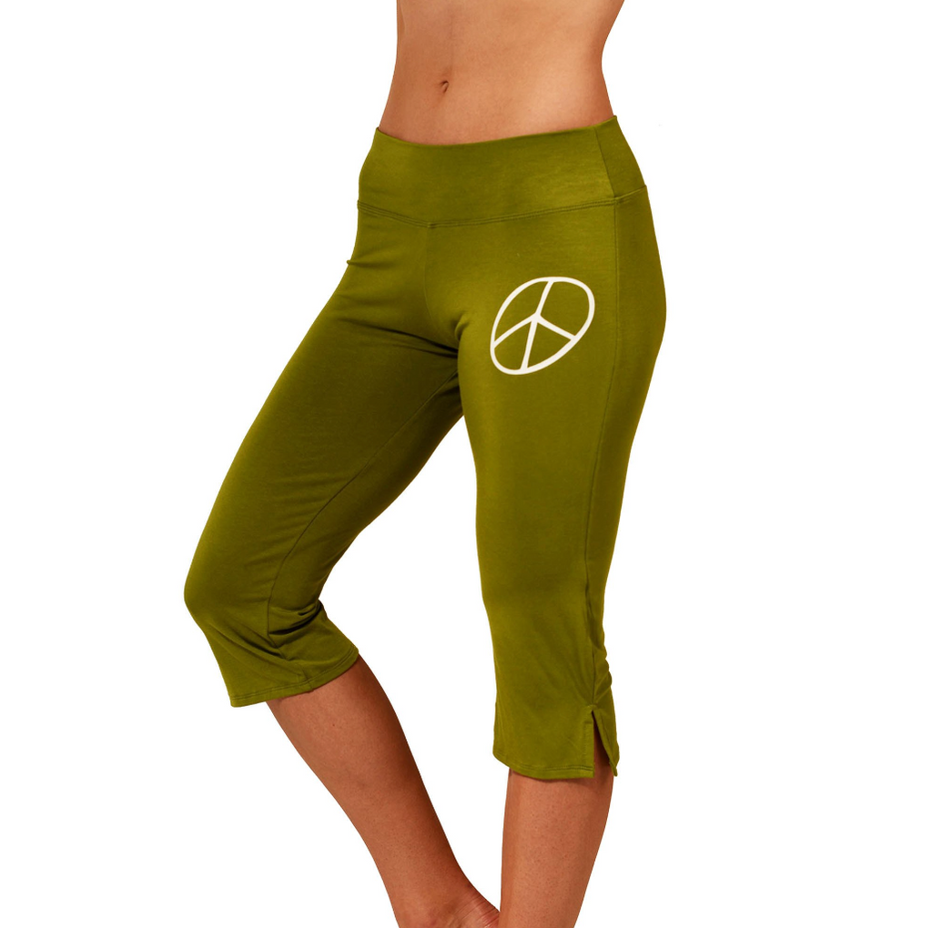 PEACE SIGN ~ OLIVE SOFT VISCOSE CAPRI