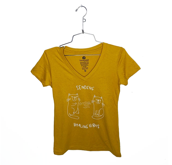HEALING VIBES ~  MUSTARD WOMAN COTTON V-NECK