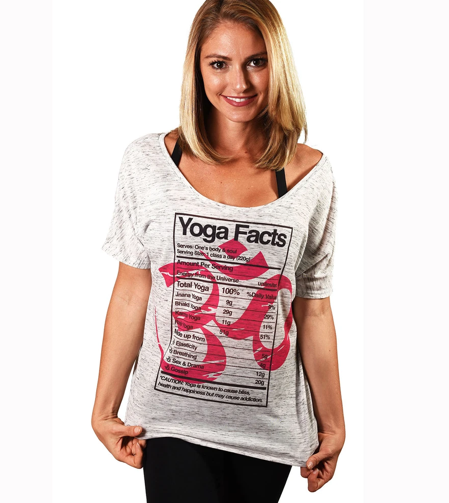YOGA FACTS ~ MARBLE WHITE SCOOP FLOWY TEE