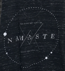 NAMASTE LIGHT ~ MARBLE BLACK FLOWY RACER TANK