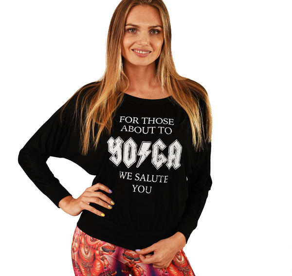 FOR THOSE ABOUT TO YOGA ~ BLACK FLOWY LONG SLEEVE