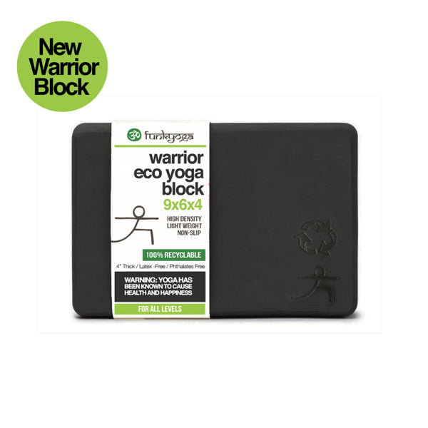 4-INCH THICK RECYCLABLE WARRIOR BLACK YOGA BLOCK