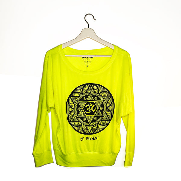 BE PRESENT NEON YELLOW FLOWY LONG SLEEVE