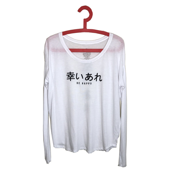 BE HAPPY ~ SOLID WHITE RIB LONG SLEEVE
