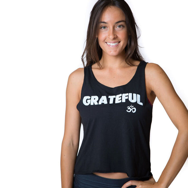 GRATEFUL OM ~ BLACK TIE BACK OPEN TOP