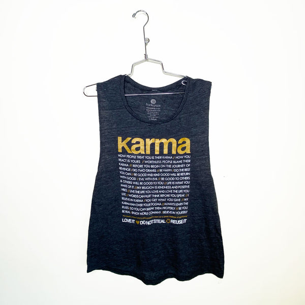 KARMA QUOTES GOLD ~ SLUB BLACK FLOWY MUSCLE TANK