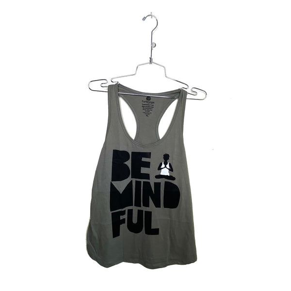 BE MINDFUL~ WARM GREY COTTON RACER TANK