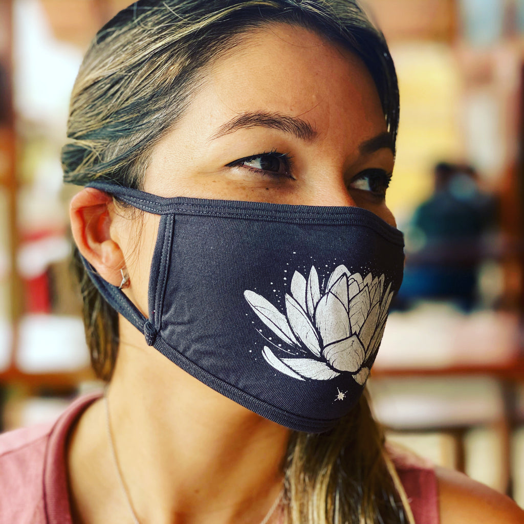 LOTUS ~ DARK GREY VISCOSE PROTECTIVE MASK  ~ SHIPS IMMEDIATELY
