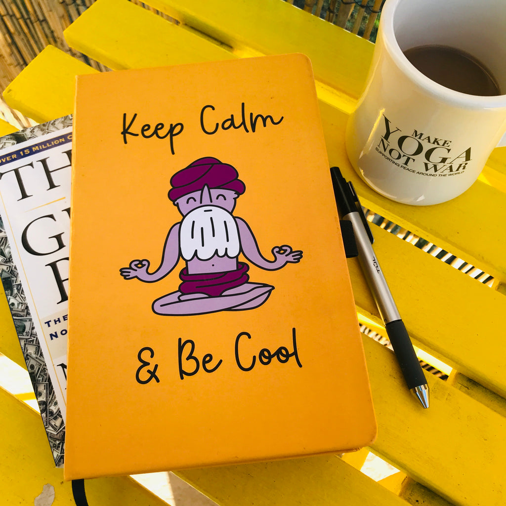 KEEP CALM & BE COOL ~ HARD COVER TRAVEL NOTEBOOK ~ 192 Dotted Pages