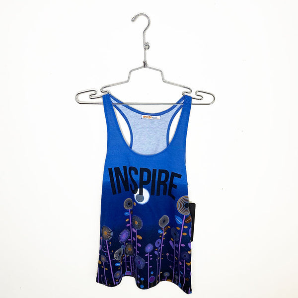 ONE-OF-A KIND INSPIRE ~ BLUE FLOWER RACER TANK