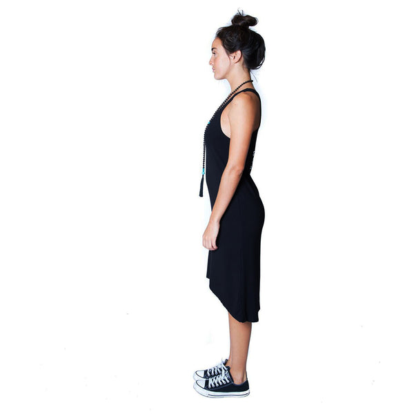 LOKAH SAMASTAH ~ BLACK ONE SIZE VISCOSE RACER DRESS