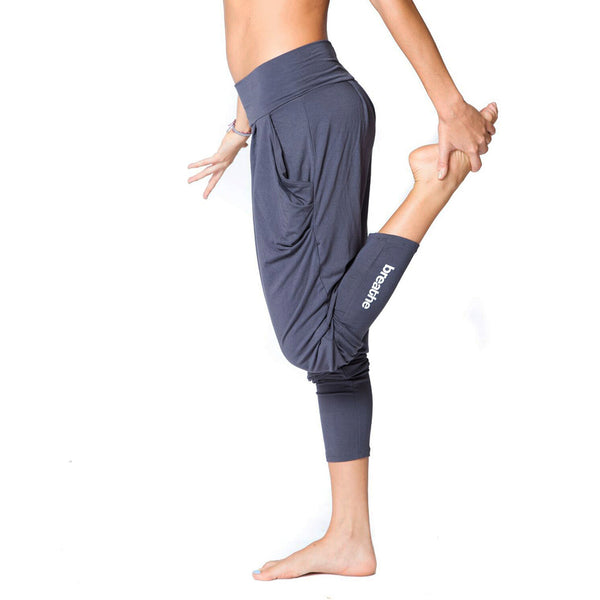 BREATHE ~ DARK GREY HAREM VISCOSE JOGGER PANT WITH POCKETS & LEG PRINT