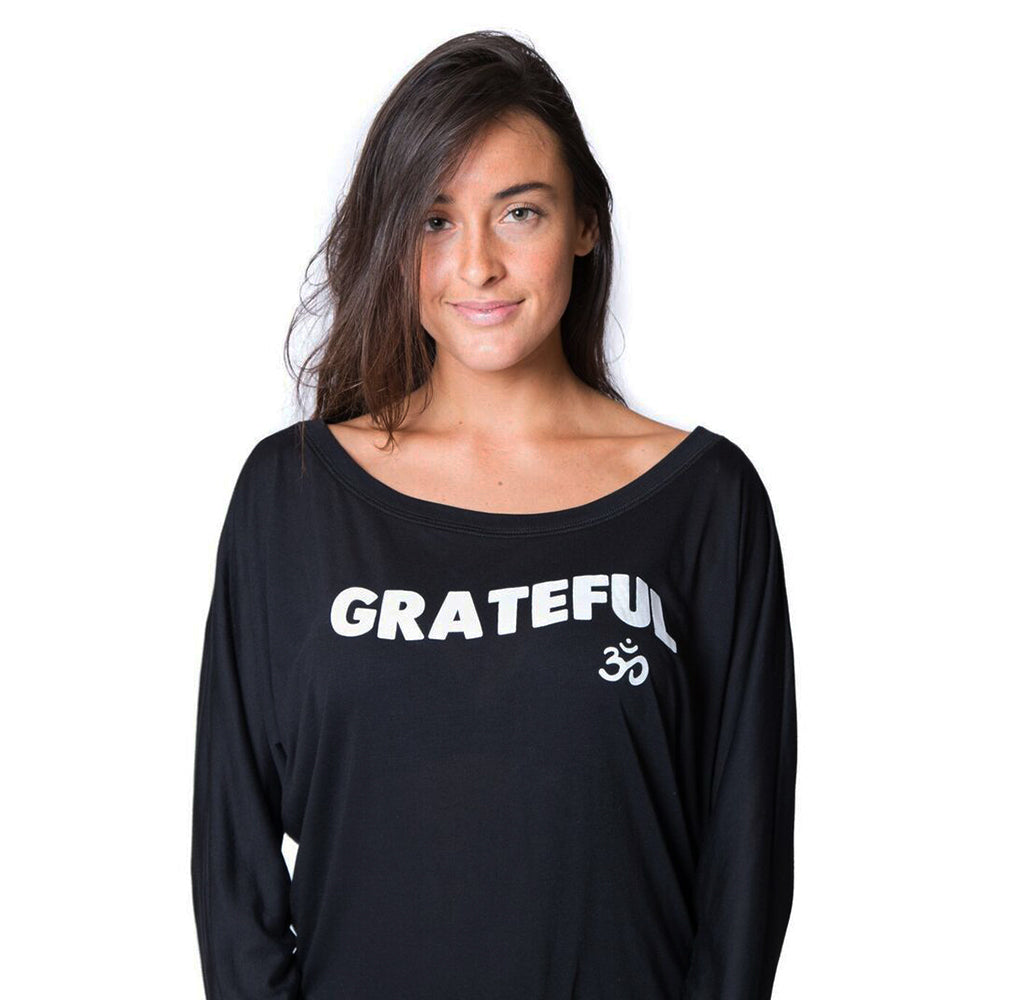 GRATEFUL OM ~ SOLID BLACK FLOWY LONG SLEEVE