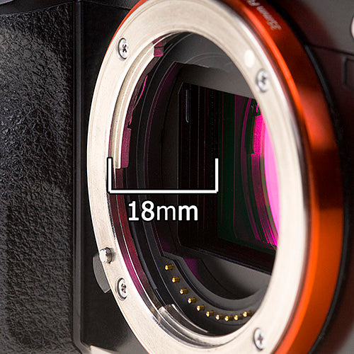 Close-up of the FFD on the Sony E-Mount camera system