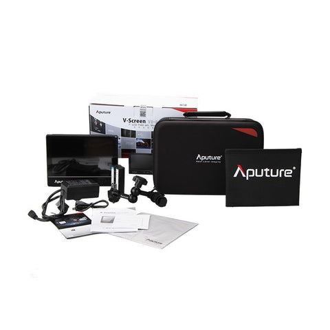 "Aputure VS-2 V-Screen - 7"" LCD Advanced Field Monitor Kit; 1024x600 display, 800:1 Ratio - Kit Includes: VS-2 Adv. LCD Monitor, NP-F550 2200mAh 7.2V Battery w/ Charger, HDMI Cable, 7"" Articulated Arm, Folding Sunshade, Padded Carrying Case & Instructions"