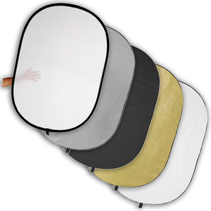 "Fotodiox 48x72"" 5-in-1 Reflector Pro, Premium Grade Collapsible Disc, Soft Silver/Gold/Black/White/Diffuser"