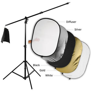 "Fotodiox Pro Ultra Reflector Kit - 48x72"" 5-in-1 Collapsible Disc + 3-in-1 Heavy Duty Boom Stand"