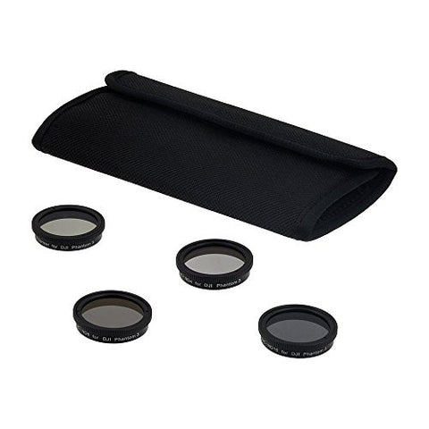 Fotodiox Four (4) Piece Filter Kit for DJI Phantom 3 Drone - ND4, ND8, ND16 & PL Filters for Phantom3 Cameras