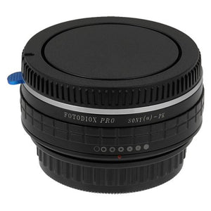 Fotodiox Pro Lens Mount Adapter - Sony Alpha A-Mount (and Minolta AF) DSLR Lens to Pentax K (PK) Mount SLR Camera Body, with Built-In Aperture Control Dial