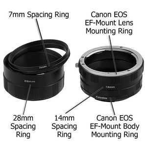 Fotodiox Macro Extension Tube Set for Canon EOS (EF, EF-S) Mount SLR Cameras for Extreme Close-up Photography