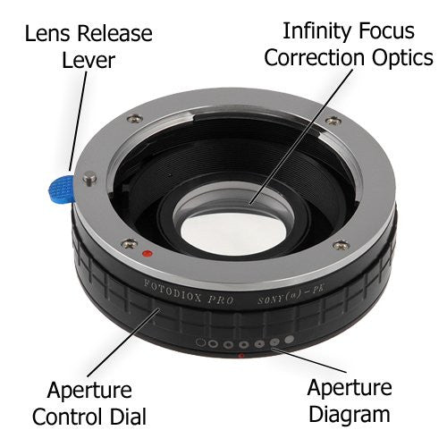 SLR Lenses to Sony Alpha A-Mount Mount SLR Camera Body PK Fotodiox Lens Mount Adapter Compatible with Pentax K Mount and Minolta AF