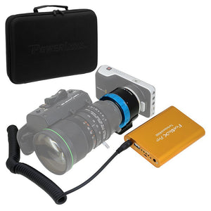 Fotodiox Pro PowerLynx Kit, B4 Lens to MFT Black Magic Pocket Cinema Adapter & Turbopack 9000 Battery Kit with Power Cable