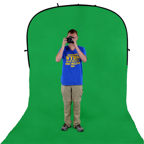 Fotodiox Collapsible 8x14ft Portable Backdrop - Black or Chromakey Green Muslin Background