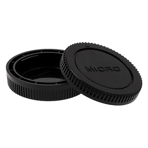 Fotodiox Camera Body & Rear Lens Cap Set for All Micro Four Thirds (MFT) Compatible Cameras & Lenses