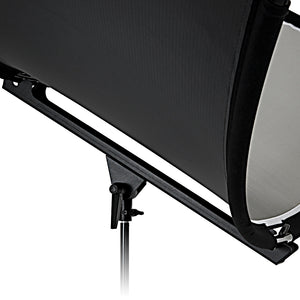 Fotodiox Crescent Moon Reflector - Curved Beauty Catch Light Reflector for Portraits and Head Shots Includes 6ft Light Stand