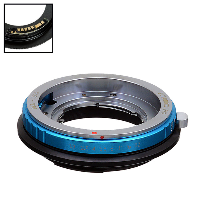 Fotodiox Pro Lens Mount Adapter Compatible with Deckel-Bayonett (Deckel Bayonet, DKL) Mount SLR Lens to Canon EOS (EF-S) Mount SLR Camera Body - with Generation v10 Focus Confirmation Chip and Selectable Clicked / Declicked Aperture Control