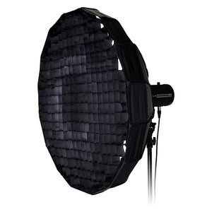 Pro Studio Solutions EZ-Pro Beauty Dish and Softbox Combination with Comet, Dynalite, and Compatible - Quick Collapsible, Soft White Interior, with Double Diffusion Panels