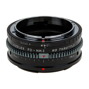 Vizelex Cine ND Throttle Lens Mount Adapter - Compatible with Canon FD & FL 35mm SLR lenses to Nikon Z-Mount Mirrorless Cameras with Built-In Variable ND Filter (1 to 8 Stops) from Fotodiox Pro