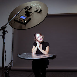 Award Winning Fotodiox Pro FlapJack Studio XL LED C-1500RSV Bicolor Edge Light - 30in Round Ultra-thin, Ultrabright, Dual Color LED Photo/Video Light Kit