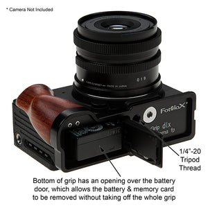 Deluxe Metal Camera Hand Grip for Sigma fp Camera with Wooden Accent and Battery Access