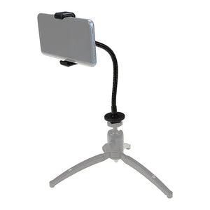 "Fotodiox Cell Phone Mount w/ Gooseneck Tripod / Hot Shoe Adapter - Universal Phone 1/4"" Tripod Mount Clamp for Smartphones, 2.2-4"" Wide Adjustable"
