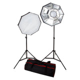 Fotodiox 2-Light LED Photo and Video Softbox Continuous Dimmable Lighting Kit (LV460); 22-inch Octagon Removable Softbox and Diffusers, Adjustable Light Stands & Travel Bag all in one Box