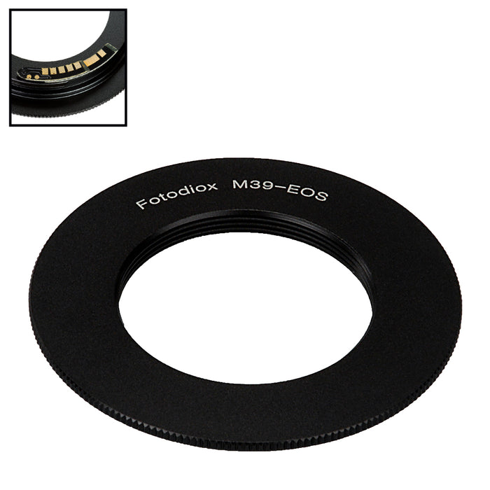 Fotodiox Lens Mount Adapter Compatible with M39/L39 (x1mm Pitch) Screw Mount Russian & Leica Thread Mount Lens to Canon EOS (EF, EF-S) Mount SLR Camera Body - with Generation v10 Focus Confirmation Chip