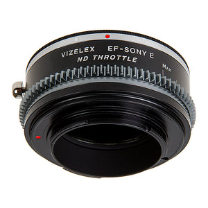 Vizelex Cine ND Throttle Lens Mount Double Adapter - M42 Type 1 & 2 (42mm x1 Screw Mount) & Canon EOS (EF, EF-S) Mount Lenses to Sony Alpha E-Mount Mirrorless Camera Body with Built-In Variable ND Filter (1 to 8 Stops)