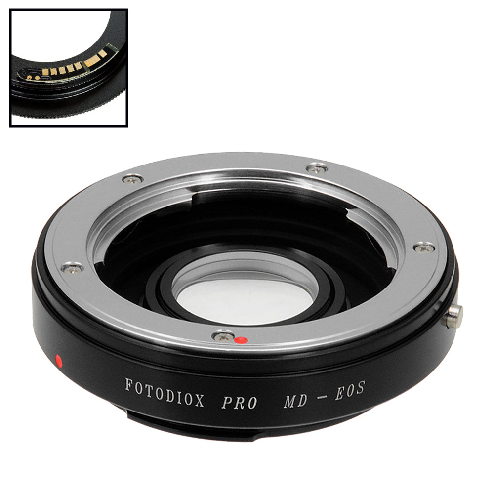 Fotodiox Pro Lens Mount Adapter Compatible with Minolta Rokkor (SR / MD / MC) SLR Lens to Canon EOS (EF, EF-S) Mount SLR Camera Body - with Generation v10 Focus Confirmation Chip