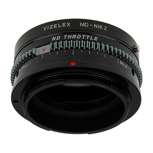 Vizelex Cine ND Throttle Lens Mount Adapter - Compatible with Minolta Rokkor (SR / MD / MC) SLR Lenses to Nikon Z-Mount Mirrorless Cameras with Built-In Variable ND Filter (2 to 8 Stops) from Fotodiox Pro