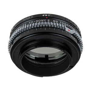 Vizelex Cine ND Throttle Lens Mount Adapter - Canon FD & FL 35mm SLR lens to Sony Alpha E-Mount Mirrorless Camera Body with Built-In Variable ND Filter (1 to 8 Stops)