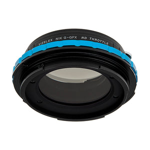 Vizelex Cine ND Throttle Lens Mount Adapter - Nikon Nikkor F Mount G-Type D/SLR Lens to Fujifilm Fuji G-Mount GFX Mirrorless Camera Body with Built-In Variable ND Filter (1 to 8 Stops)