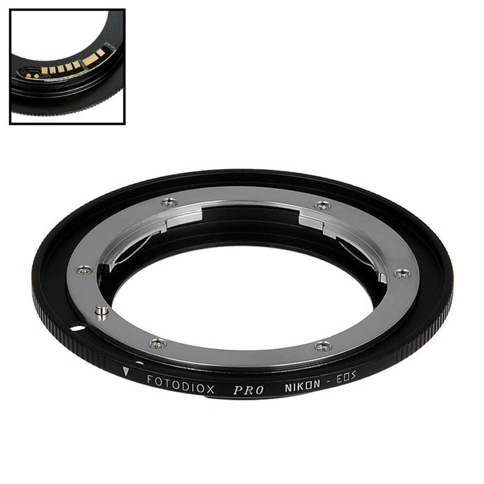 Fotodiox Pro Lens Mount Adapter Compatible with Nikon Nikkor F Mount D/SLR Lens to Canon EOS (EF, EF-S) Mount SLR Camera Body - with Generation v10 Focus Confirmation Chip