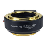 Fotodiox FUSION Smart AF Adapter Mark II, Nikon Nikkor F Mount G-Type D/SLR Lens to Select Sony E-Mount Mirrorless Cameras (a6300, a6500, a7 II, a7R II, a9) with Updated Full Automated Functions