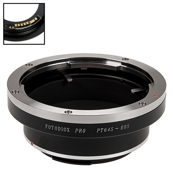 Fotodiox Pro Lens Mount Adapter Compatible with Pentax 645 (P645) Mount SLR Lens to Canon EOS (EF, EF-S) Mount SLR Camera Body - with Generation v10 Focus Confirmation Chip