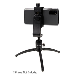 "Fotodiox Cell Phone Tripod Mount Adapter Kit - Universal Phone 1/4"" Tripod Mount Clamp for Smartphones with Fotodiox Pro Mini Tabletop Ballhead Tripod, Vertical Horizontal Adjustable Clamp 2.2-4"" Wide"