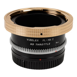 Vizelex Cine ND Throttle Lens Mount Adapter - Arri PL (Positive Lock) Mount Lens to Nikon Z-Mount Mirrorless Camera Body with Built-In Variable ND Filter (1 to 8 Stops)