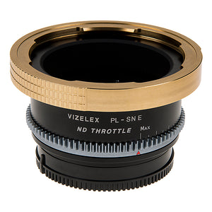 Vizelex Cine ND Throttle Lens Mount Adapter - Arri PL (Positive Lock) Mount Lens to Sony Alpha E-Mount Mirrorless Camera Body with Built-In Variable ND Filter (2 to 8 Stops)