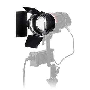 Fotodiox Pro PopSpot 50 V.2 Focusing Zoom Lens (FL65, 23-66°) & Barn Door Add-On