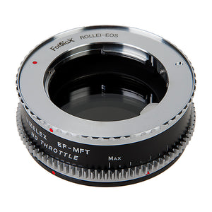 Vizelex Cine ND Throttle Lens Mount Double Adapter - Rollei 35 (SL35) SLR & Canon EOS (EF, EF-S) Mount Lenses to Micro Four Thirds (MFT, M4/3) Mount Mirrorless Camera Body with Built-In Variable ND Filter (1 to 8 Stops)